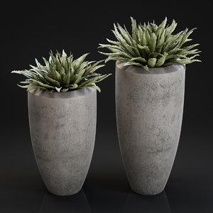 big plant concrete pot 3D model