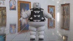 fat white blob 3D model