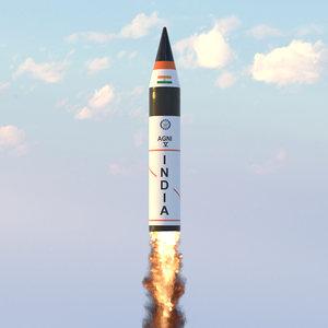 agni 5 icbm missile 3D model