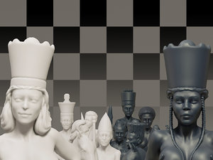 3D model white female chess beautiful