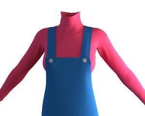 designer apron dress 3D model