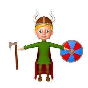 viking boy cartoon 3D model