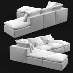 sofa custom sectional white 3D