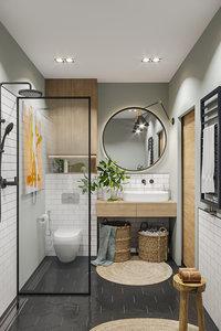 3D modern bathroom interior scene