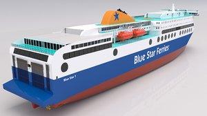 3D blue star ferries