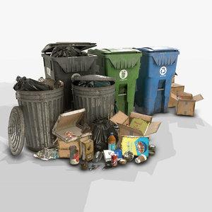 pack urban trash 2 3D model
