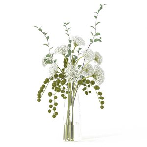 3D model flowers vase diane james