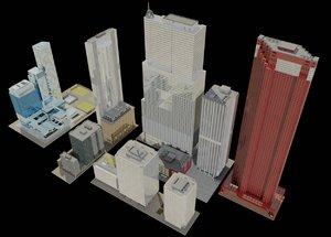 exterior buildings skyscrapers model