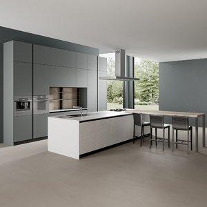 3D model realistic kitchen clean 3