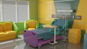 3D cartoon hospital room