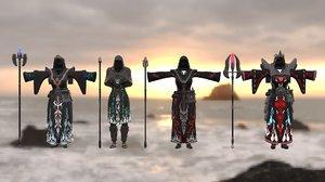 armor female pbr 3D model