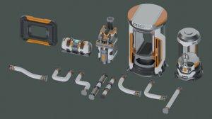 3D sci-fi props