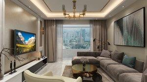 3D living room dining set