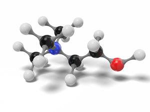 3D model choline molecule c5h14no modeled