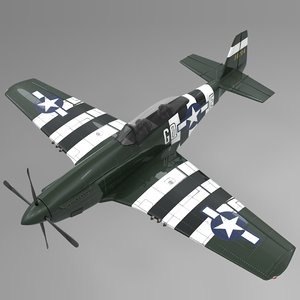 3D gqe north american p-51 mustang model