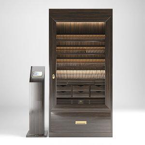 3D humidor gerber cigar cabinet model