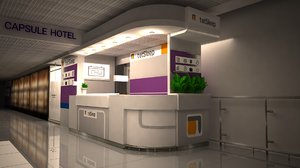 3D check-in airport capsule hotel