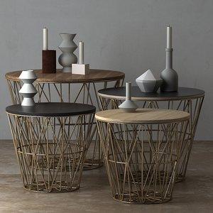 3D wire basket table ferm