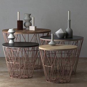 wire basket table ferm 3D model