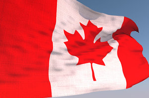 3D canadian waving flag animation model
