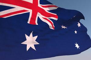 australian waving flag animation 3D model