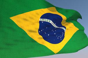 3D model brazilian waving flag animation