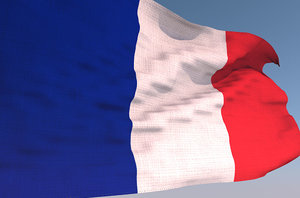 3D france waving flag animation