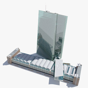 3D european central bank building model