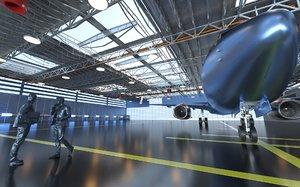 3D hangar planes vr