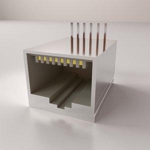 3D rj45 female socket model