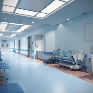 3D hospital hallway