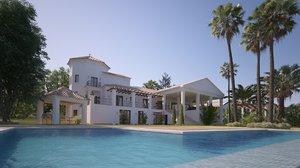 3D model villa pool patio trees bushes