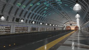 3D tramway bus station tram