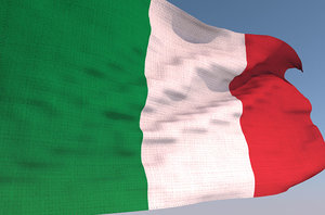 3D italy waving flag animation