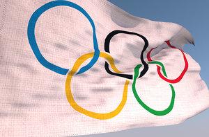 olympic games waving flag 3D model