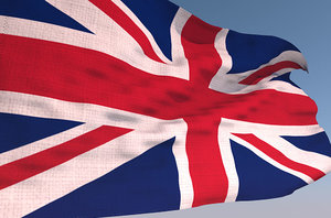 england waving flag animation 3D model