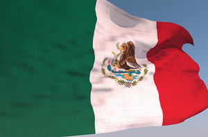 3D mexico waving flag animation