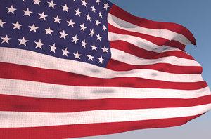 3D model usa waving flag animation