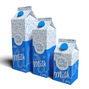 milk carton modeled 3D model