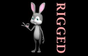 rigged cartoon cute rabbit 3D model