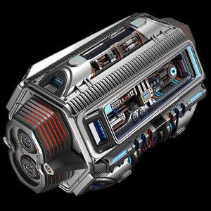 sci fi engine kitbash model