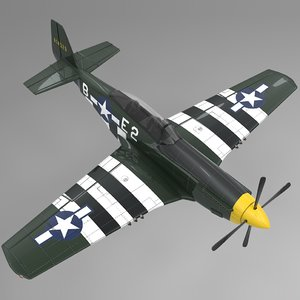 3D be2 north american p-51 mustang model