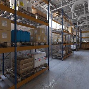 3D warehouse interior scene 3 model