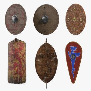 3D old wooden shields model