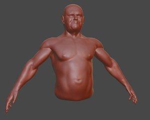 3D male torso base mesh