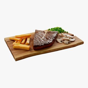 cartoon steak meal 3D