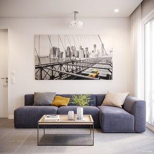 3D model livingroom kitchen
