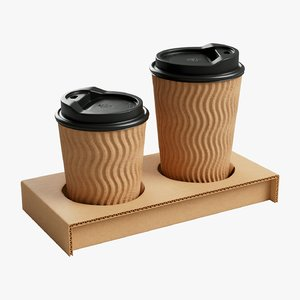 3D cartoon coffee cups model