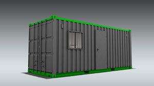 3D shipping container office home model