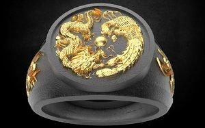 dragon men ring 3D model